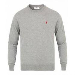 AMI Crew Neck Logo Sweater Grey
