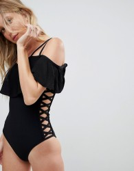 Amy Lynn Cold Shoulder Bandage Swimsuit With Lace Up Detailing - Black