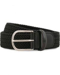 Anderson's Stretch Woven 3,5 cm Belt Black men 90 Sort