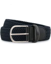 Anderson's Stretch Woven 3,5 cm Belt Navy men 105 Blå