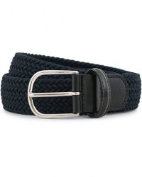 Anderson's Stretch Woven 3,5 cm Belt Navy men 85 Blå