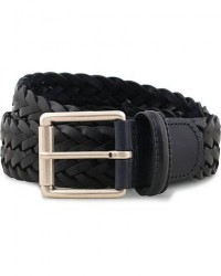Anderson's Woven Leather 3,5 cm Belt Navy men 85