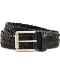 Anderson's Woven Leather 3,5 cm Belt Tanned Black men 90 Sort