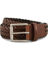 Anderson's Woven Leather 3,5 cm Belt Tanned Brown men 90 Brun