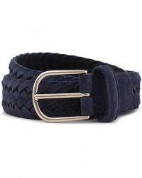 Anderson's Woven Suede 3,5 cm Belt Blue men 95