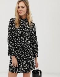 Angel Eye bird print shirt dress - Navy