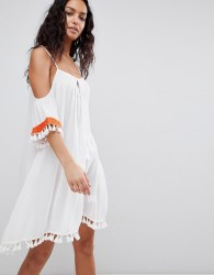 Anmol Cold Shoulder Beach Dress With Embroidered Trim - White