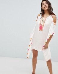 Anmol Cold Shoulder Beach Dress With Neon Pom Trim - White
