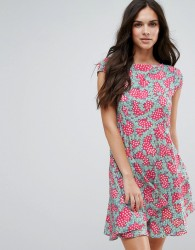 Anmol Fit And Flare Dress In Daisy Chain Print - Pink