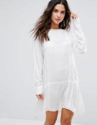 Anmol Longline Embroidered Beach Dress - White