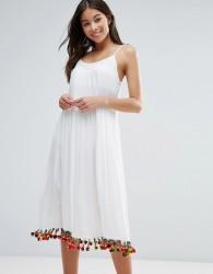 Anmol Maxi Beach Dress with Pom Pom Trim - White
