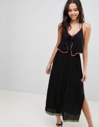 Anmol Maxi Beach Dress With Trim Overlay - Black