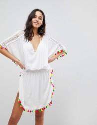 Anmol Neon Tassel Trim Beach Dress - White