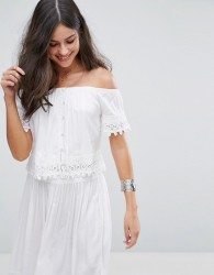 Anmol Off Shoulder Embroidered Co Ord Beach Top - White