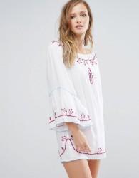 Anmol Off Shoulder Mini Beach Dress with Trim - White
