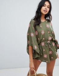 Anmol Oversized Beach Playsuit With Floral Embroidery - Green
