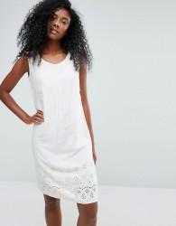 Anmol Sleeveless Beach Dress with Broderie Anglaise Trim - Cream
