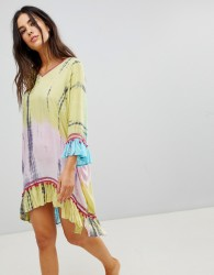 Anmol Throw Over Beach Dress With Embroidered Trim - Multi