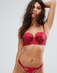 Ann Summers Applique Longline Balcony Push Up Bra A - DD Cup - Red