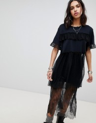 Anna Sui Chasing Hearts Mesh Oversized Top - Black