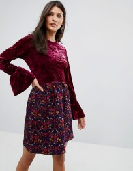Anna Sui Crushed Velvet Dress with Jaqcuard Floral Skirt - Pink