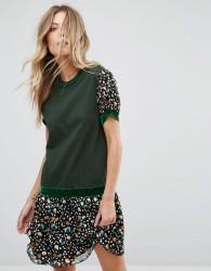Anna Sui Drop Waist Jersey Dress in Dandelion Medley Print - Green