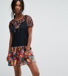 Anna Sui Exclusive Jersey Dress with Contrast Floral Trim - Multi