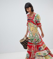 Anna Sui Exclusive Maxi Dress in Florida Sunshine Print - Multi