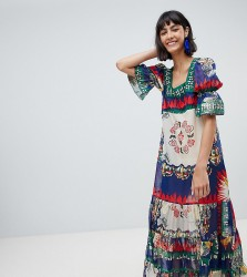 Anna Sui Exclusive Maxi Dress In New York Print - Multi