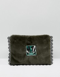 Anna Sui Faux Fur Clutch Bag with Badge - Green