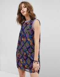 Anna Sui Rose Trellis Chiffon Shift Dress - Multi