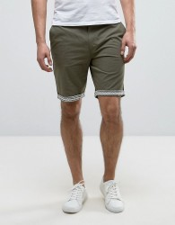 Another Influence Aztec Turn Up Chino shorts - Green