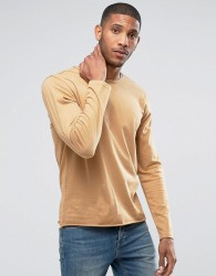 Another Influence Basic Raw Edge Long Sleeve Top - Tan