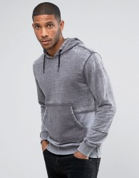 Another Influence Burn Out Pull Over Panelled Hoodie - Grey