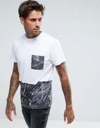 Another Influence Camo Cut and Sew T-Shirt - White