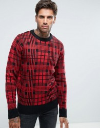 Another Influence Checked Knitted Jumper - Black