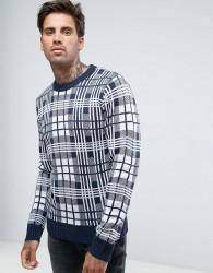 Another Influence Checked Knitted Jumper - Navy
