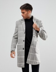 Another Influence Checked Overcoat Jacket - Grey