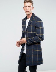 Another Influence Checked Overcoat Jacket - Navy