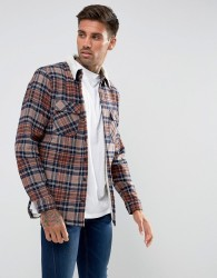 Another Influence Checked Overshirt with Borg Lining - Navy