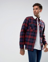Another Influence Checked Overshirt with Borg Lining - Red