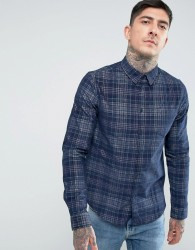 Another Influence Cheked Cord Shirt - Navy