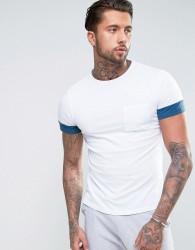 Another Influence Contrast Sleeve T-Shirt - White