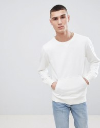 Another Influence Crew Neck Front Pocket Sweat - White