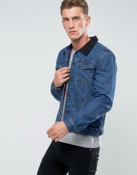 Another Influence Denim Jacket with Shearling Collar - Blue