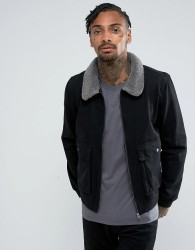 Another Influence Denim Zip Jacket with Borg - Black