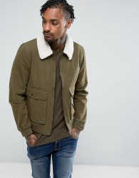 Another Influence Denim Zip Jacket with Borg - Green