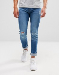 Another Influence Distressed Mid Wash Jeans - Blue