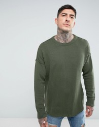 Another Influence Drop Shoulder Knitted Jumper - Green