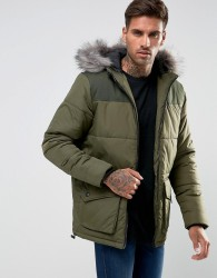 Another Influence Hooded Quilted Coat - Green